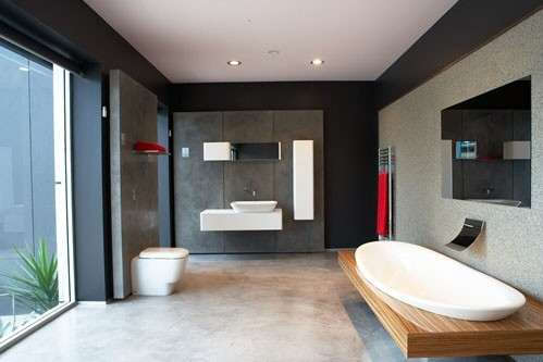 X-BOND concrete floor bathroom
