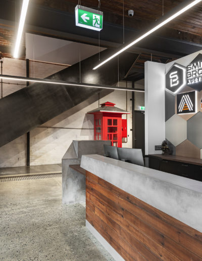 polished concrete floor and walls in office