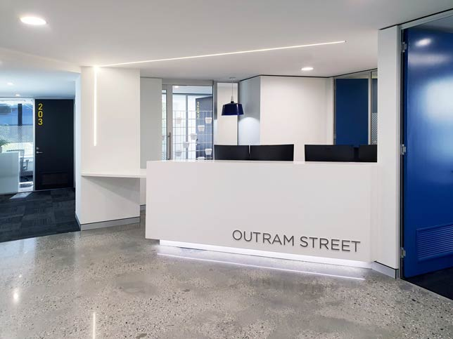 polished concrete floor in a Perth office