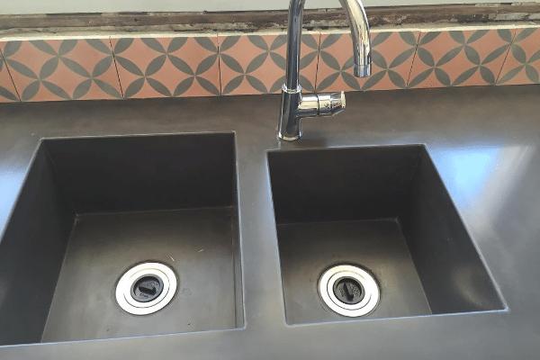 Concrete benchtop kitchen sink