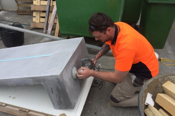 concrete benchtop sanding