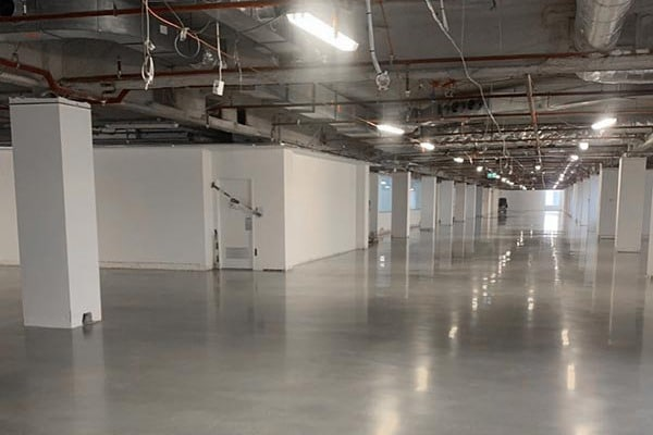 Polished concrete floor office