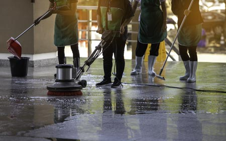 cleaning a polished concrete floor