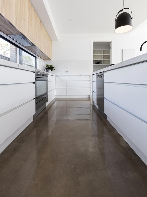 Durable polished concrete kitchen floor