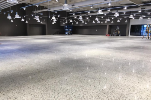 Polished concrete installation indoor