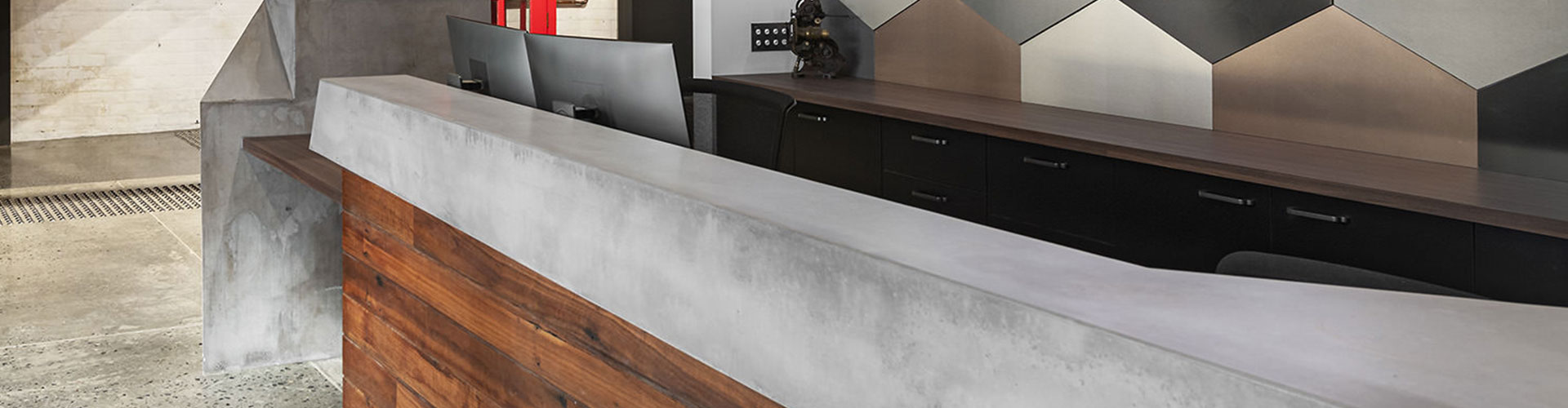 Receptionist area polished concrete table top in Perth