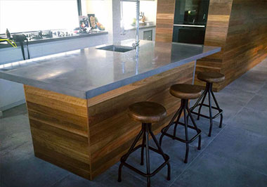 residential concrete kitchen benchtops in Perth polished concrete table top with sink